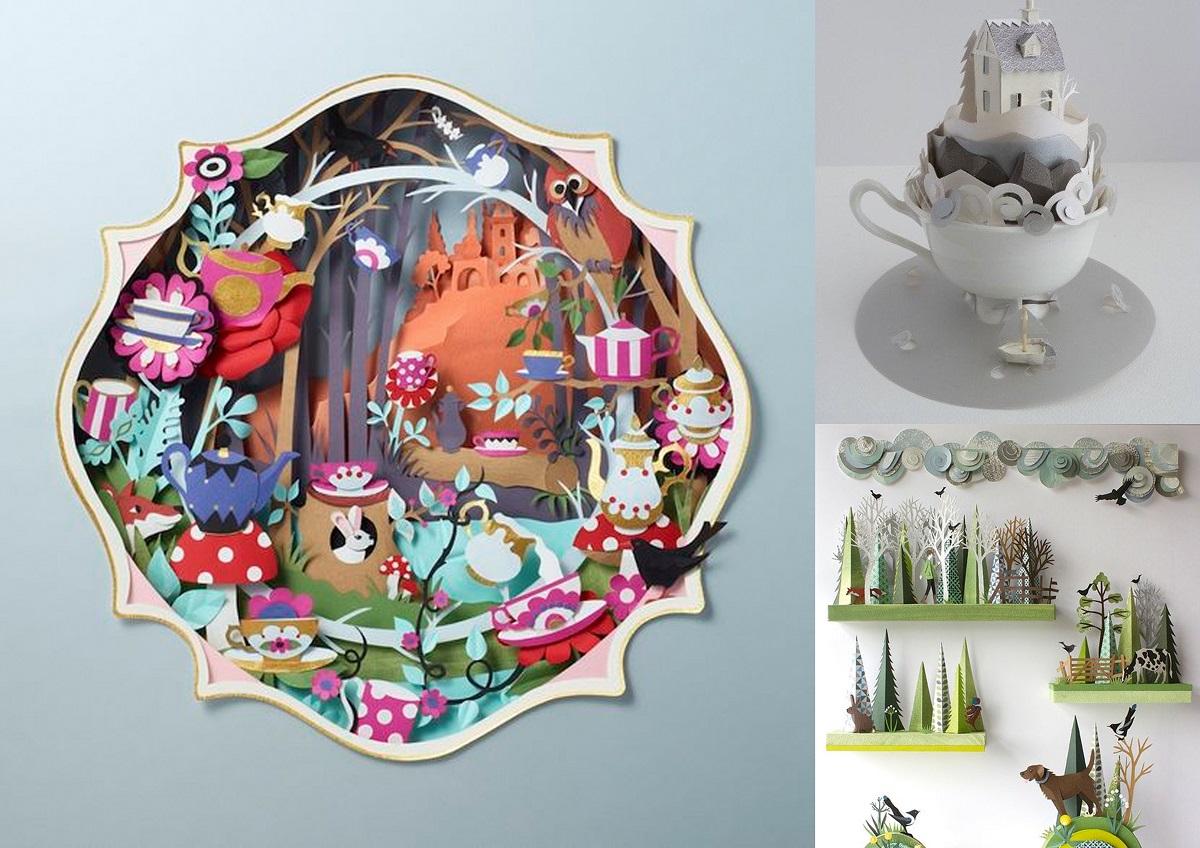 Ejemplos de manualidades de papel de la artista Helen Musselwhite