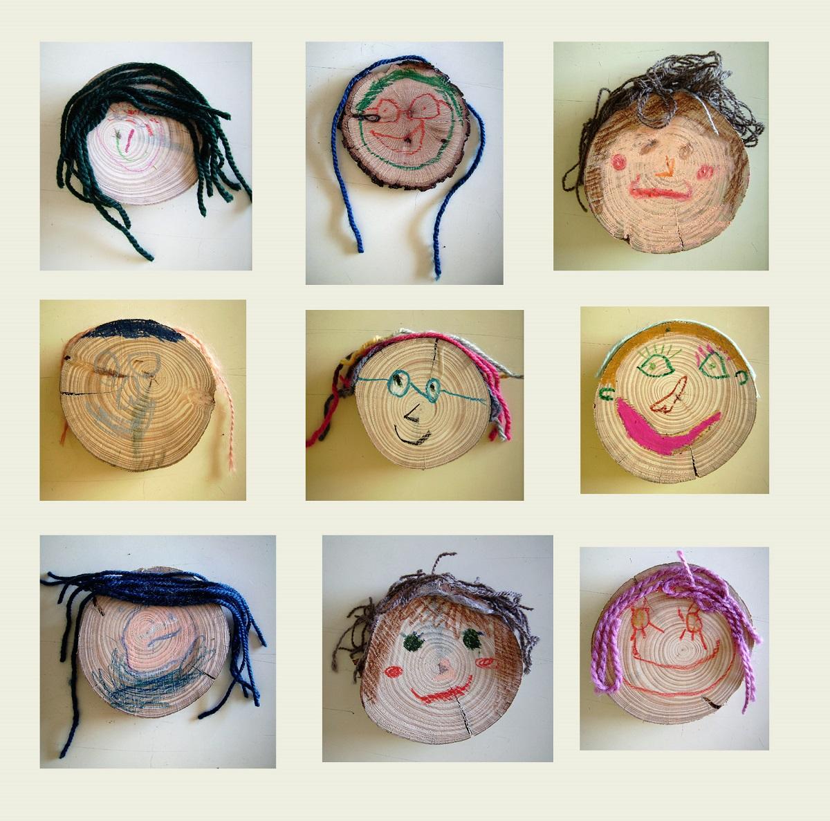 Ejemplo de manualidades con troncos, cómo hacer retratos infantiles con troncos