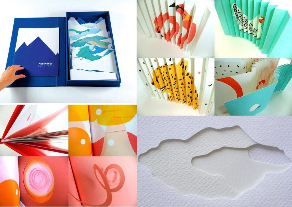 Ejemplos de proyectos de kirigami de Katsumi Komagata