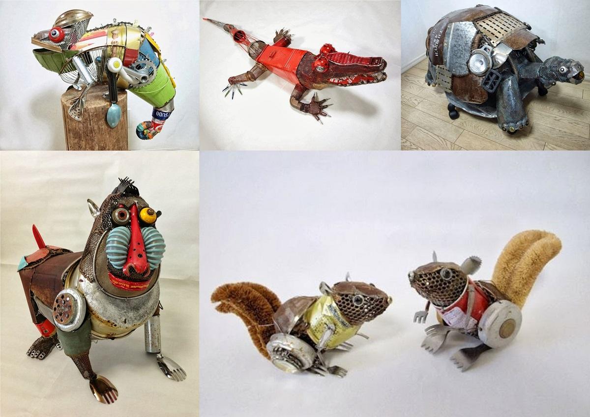 Obras de Natsumi Tomita de manualidades de reciclaje