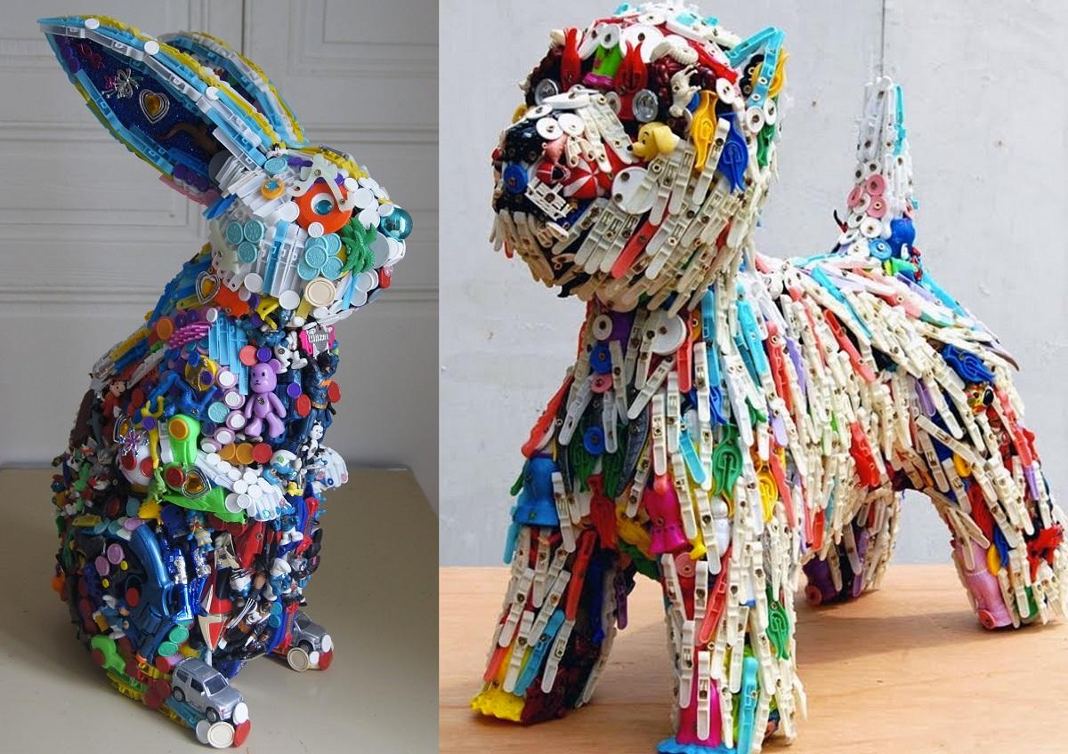 Obras de manualidades recicladas de Robert Bradford