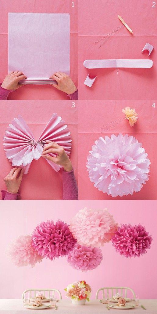 Flores paso a paso para colgar con papel de seda