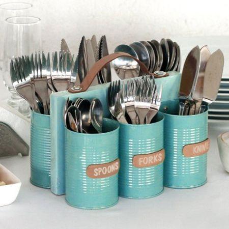 decoracion con latas recicladas para la cocina