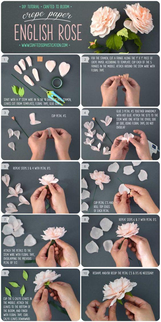 Rosas de papel crepe paso a paso