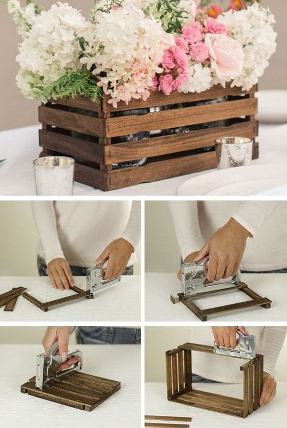 Caja de madera como macetero: