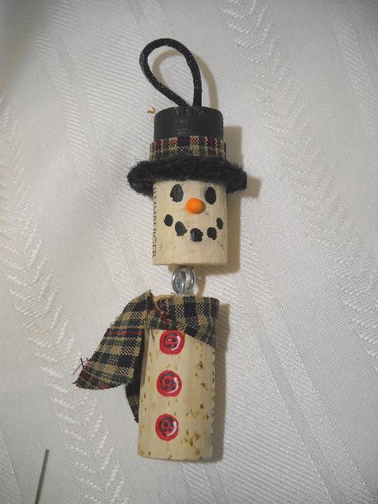 Wine Cork Snowman Ornament by notjustknots on Etsy