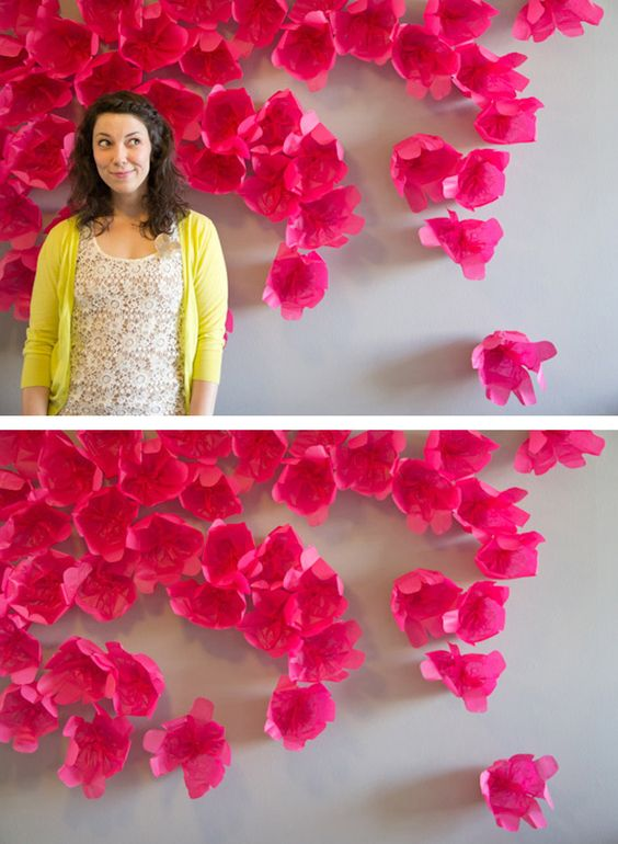 tissue paper wall flower backdrop - Google Search: