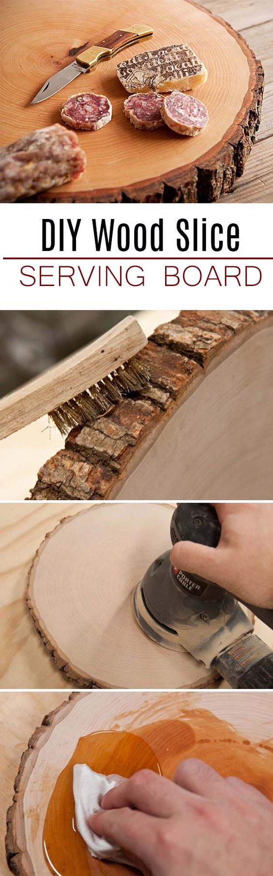 DIY Gifts For Men | Awesome Ideas for Your Boyfriend, Husband, Dad - Father , Brother and all the other important guys in your life. Cool Homemade DIY Crafts Men Will Truly Love to Receive for Christmas, Birthdays, Anniversaries and Valentine's Day | Wood Slice Serving Board for Him | http://diyjoy.com/diy-gifts-for-men-pinterest: