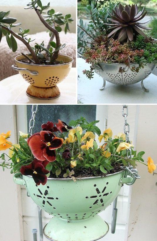 decorar un jardin reciclando objetos de cocina