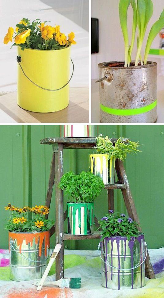 decorar jardin reciclando botes de pintura