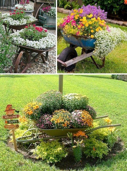 decorar jardin reciclando con jardineras