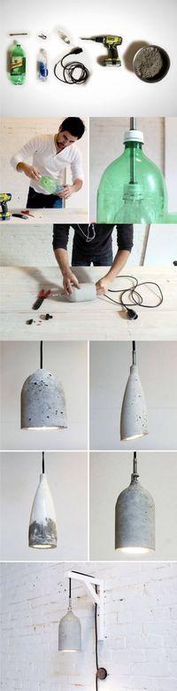 Lámpara DIY de hormigón vintage