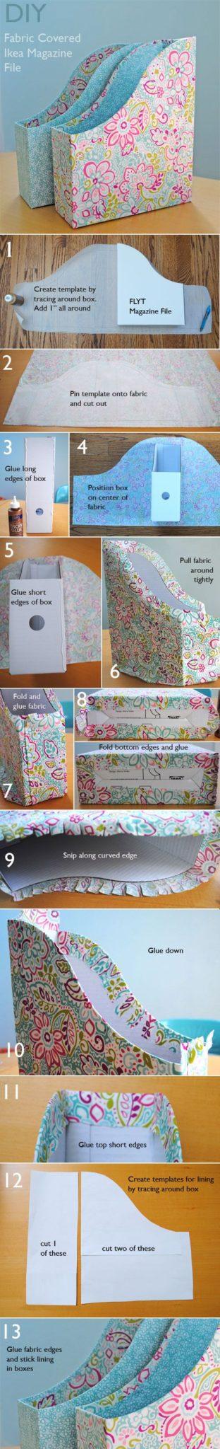 manualidades de cajas de carton organizadoras forradas con papel de scrap