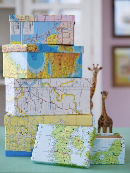 manualidades con cajas de zapatos decoradas con mapas