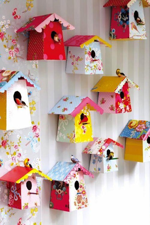 DIY paper birdhouses...color for your wall DANI ESTO ES LO QUE QUERIA HACER CON LOS BOTES DE LECHE :p: