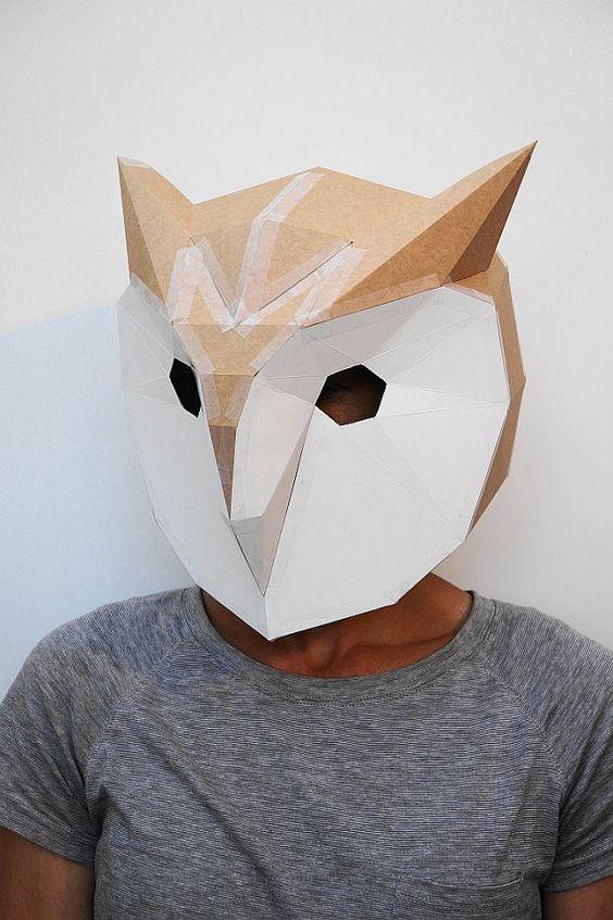 Máscara de búho de cartón para vender