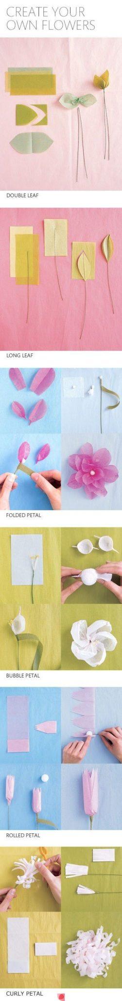 Sencillas flores de papel cometa explicadas a pasos