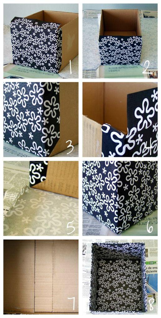 Cómo forrar con papel una caja de cartón de zapatos