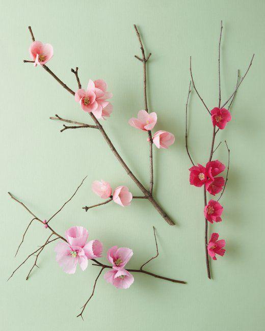 Flor de cerezo Rama flores navideñas de papel crepe