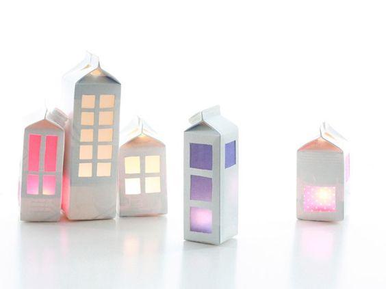 DIY- Casas con cartones de leche: