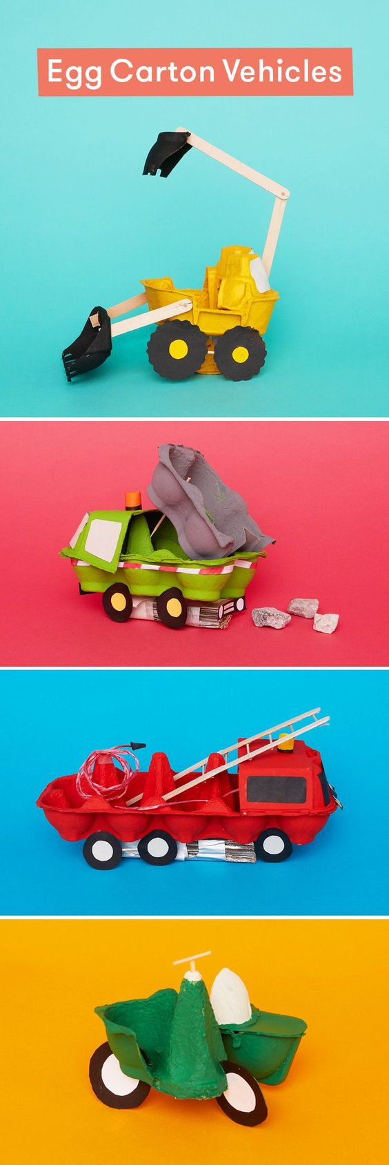 Turn egg cartons into vehicles with this ingenious cardboard craft for kids.: