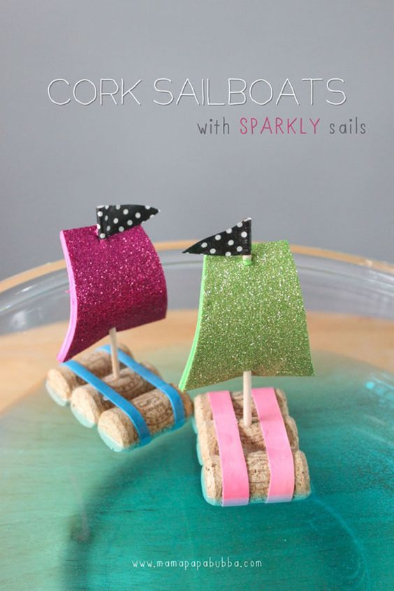 DIY WIne Cork Crafts for Kids to Make - DIY Wine Cork Sailboat - DIY Projects…
