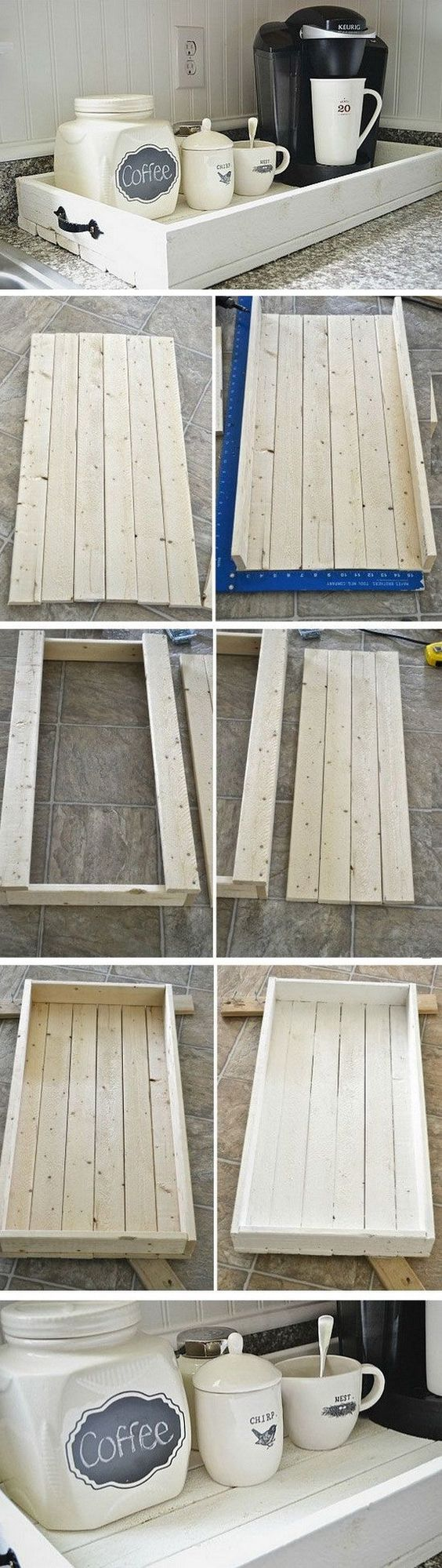 DIY Rustic Wood Tray. Love this tray for our coffee station in my kitchen! You can make it with some pallet wood boards and a bit of woodworking skills.: