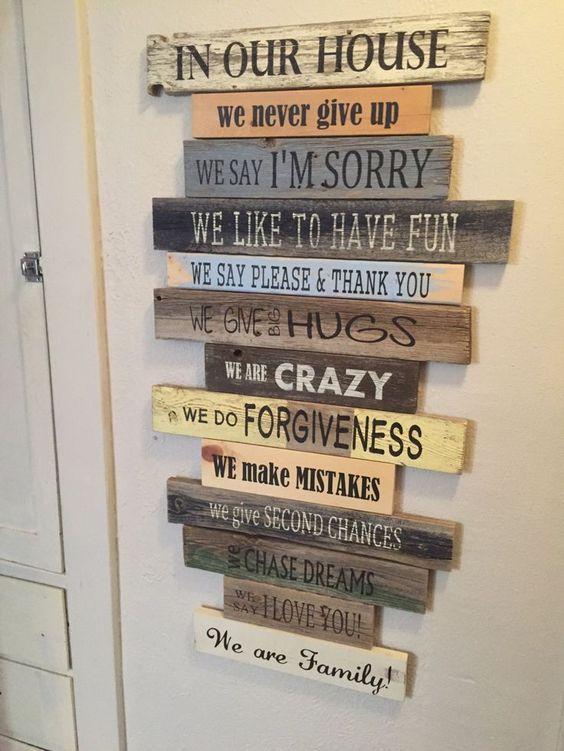 mensajes divertidos reciclados con madera