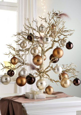 Tabletop Christmas Tree with copper, silver, chocolate ornaments: