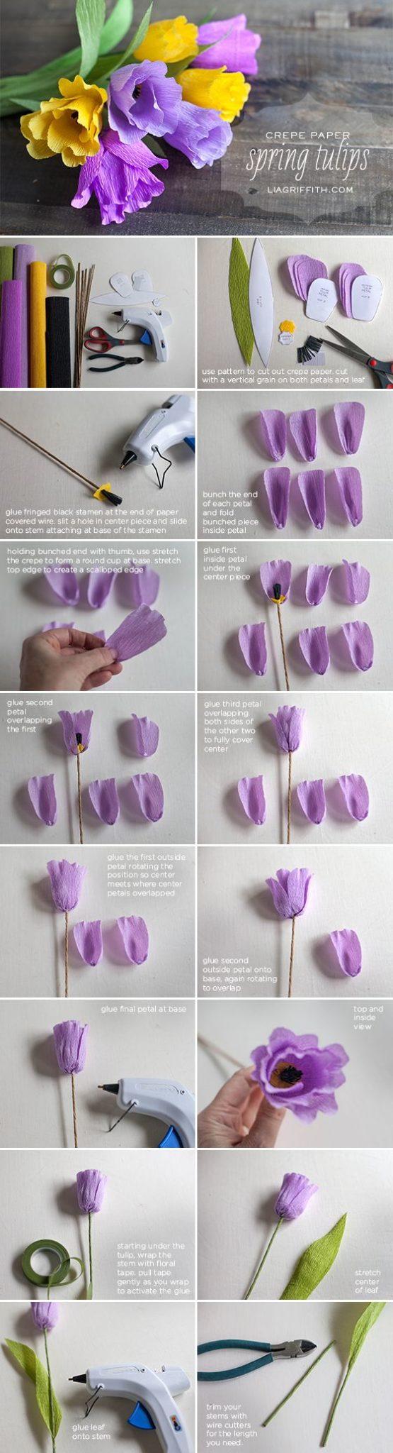 Cómo hacer tulipanes con papel crepe