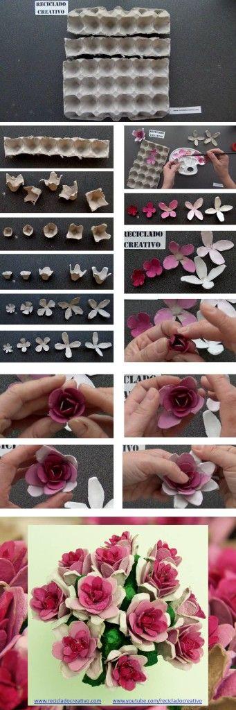 Como Hacer Flores Con Carton De Huevo Paso A Paso Flores De Papel
