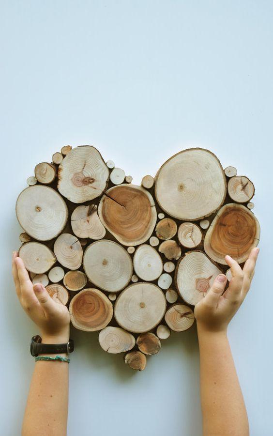 decoracion rustica reciclada con troncos