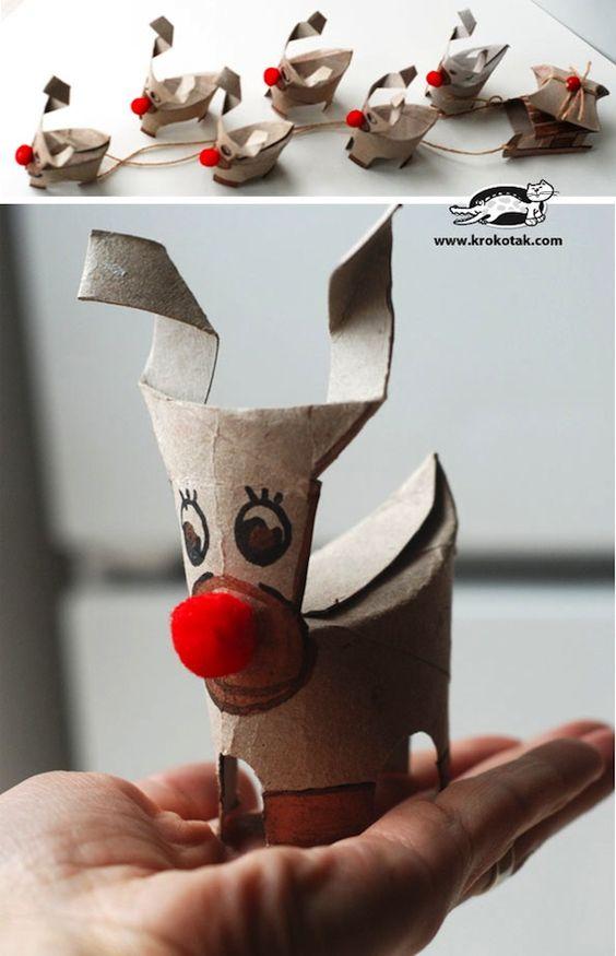 tubos de cartón reciclados para navidad