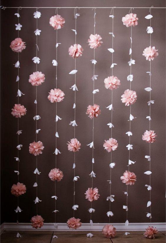 Flor de papel y papel de seda para colgar del techo