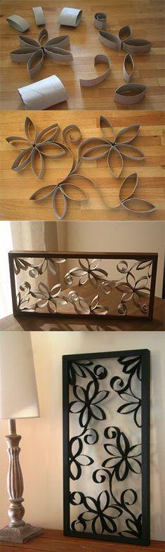 Cómo hacer un lindo cuadro con tubos de cartón: