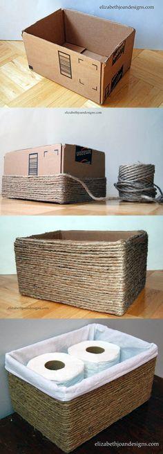 manualidades de cajas de carton organizadoras e hilo