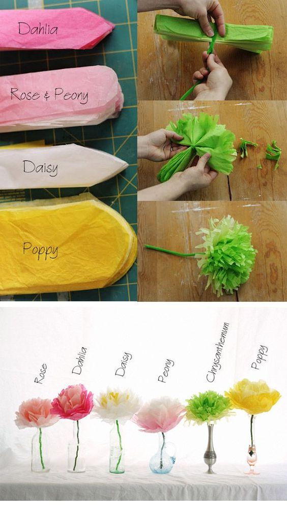 Diseños para flores de papel con tallo
