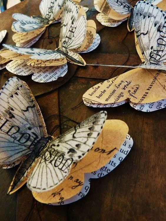 Recycled Vintage Book Pages Butterflies More: