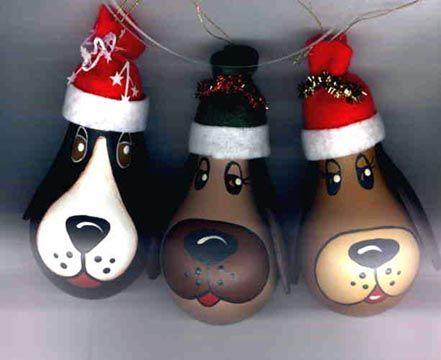 decorar bombillas recicladas con forma de perrito