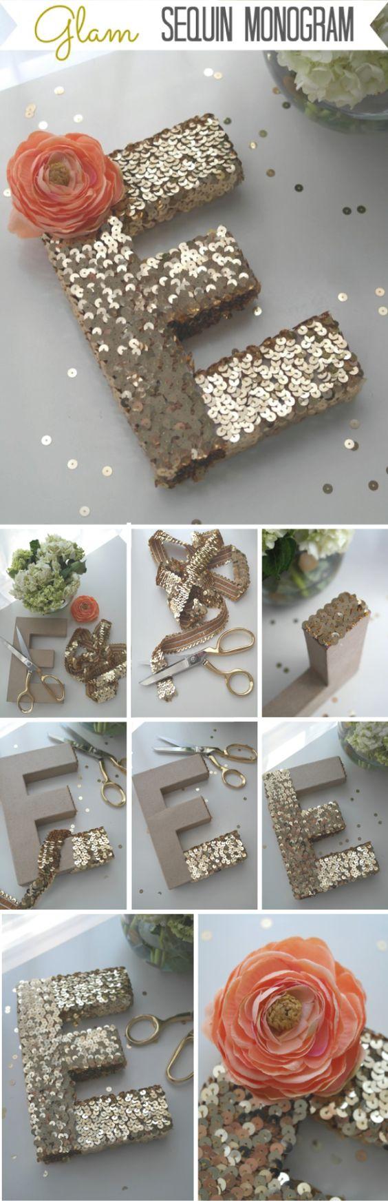 letras con lentejuelas de reciclaje para decorar habitaciones