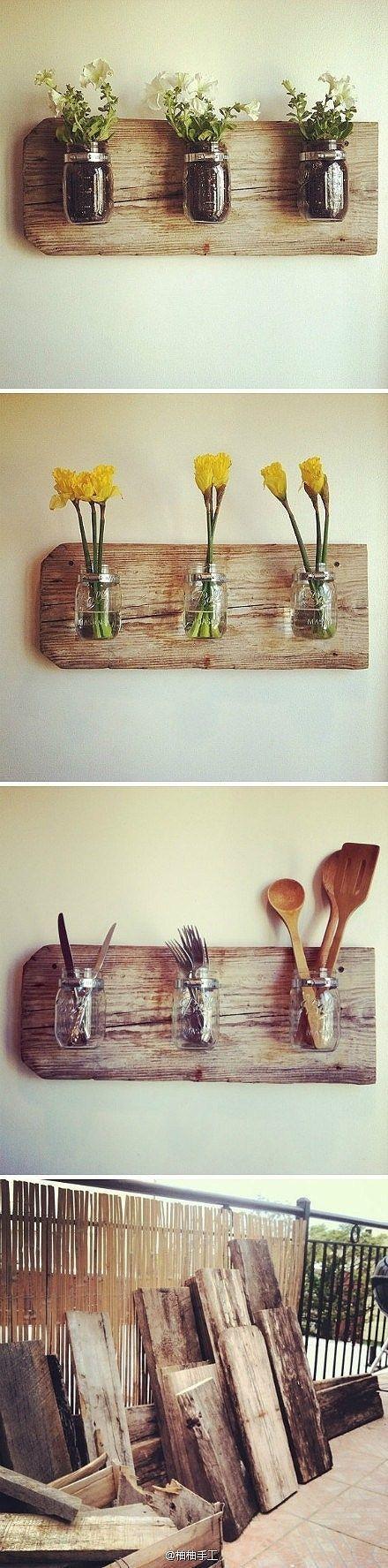 Los tarros de albañil y madera reciclada: