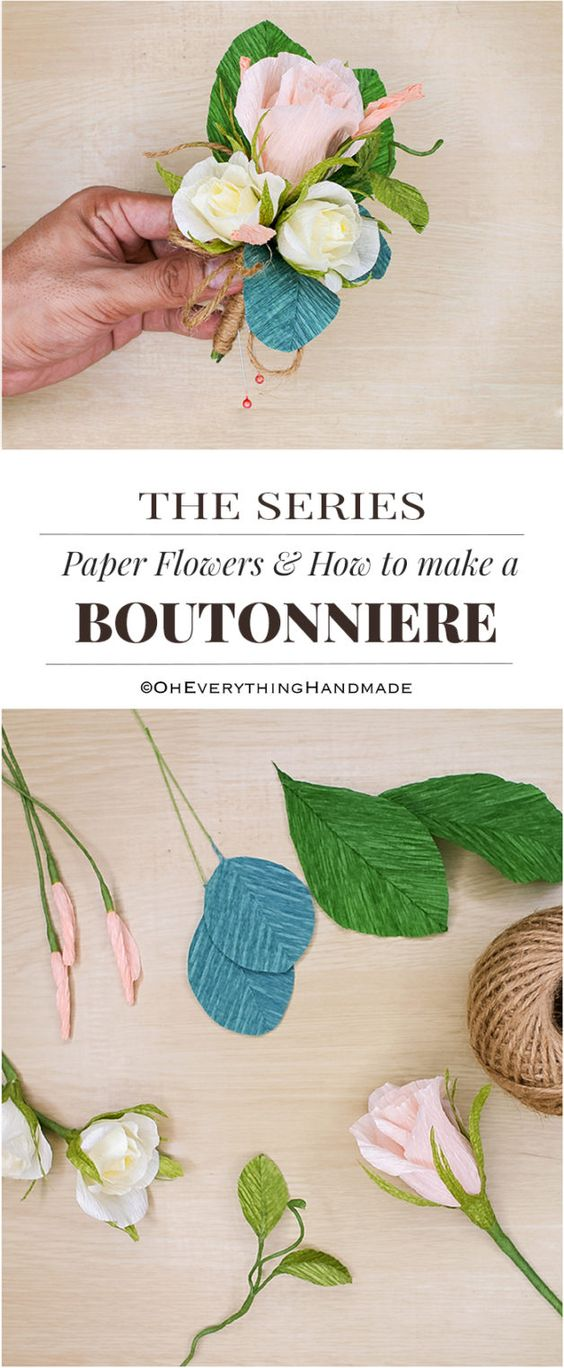 Paper Flowers & How to make Boutonnieres- PinMe: