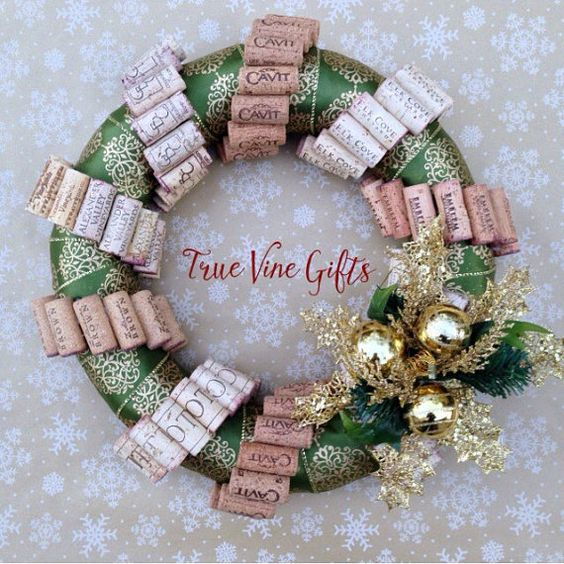 Wine Cork Christmas Wreath in Green and Gold