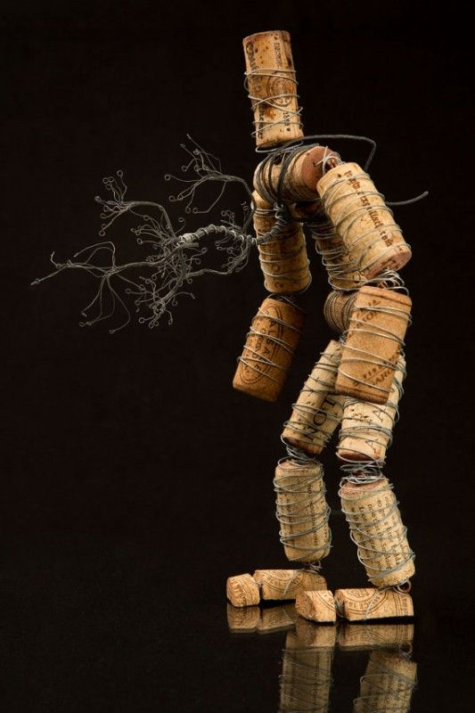 The Corkmen in art with Wire Wine Tree Sculpture natural cork Art