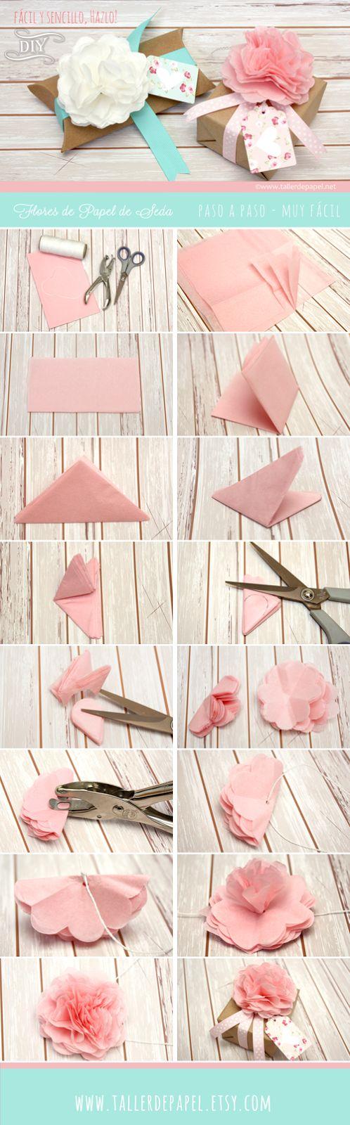 Tutorial para hacer de un empaque común, algo inolvidable. Sigue este tutorial y has esta hermosa flor para dar ese toque especial y único a un regalo muy especial! www.tallerdepapel.net: