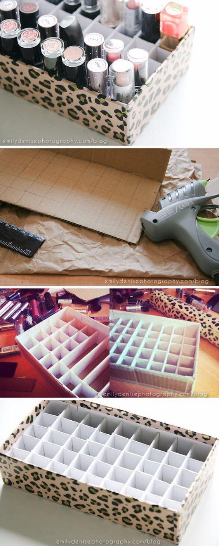 manualidades con cajas de zapatos de cartón para guardar pintalabios