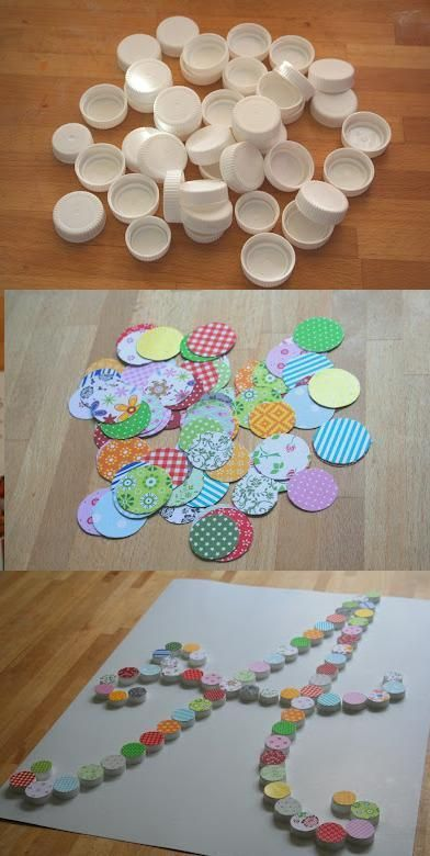 decoracion reciclada paso a paso con tapas de botellas