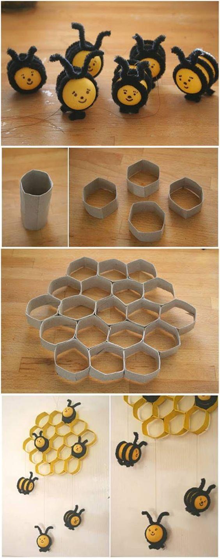 decorar objetos reciclados con tubos de cartón