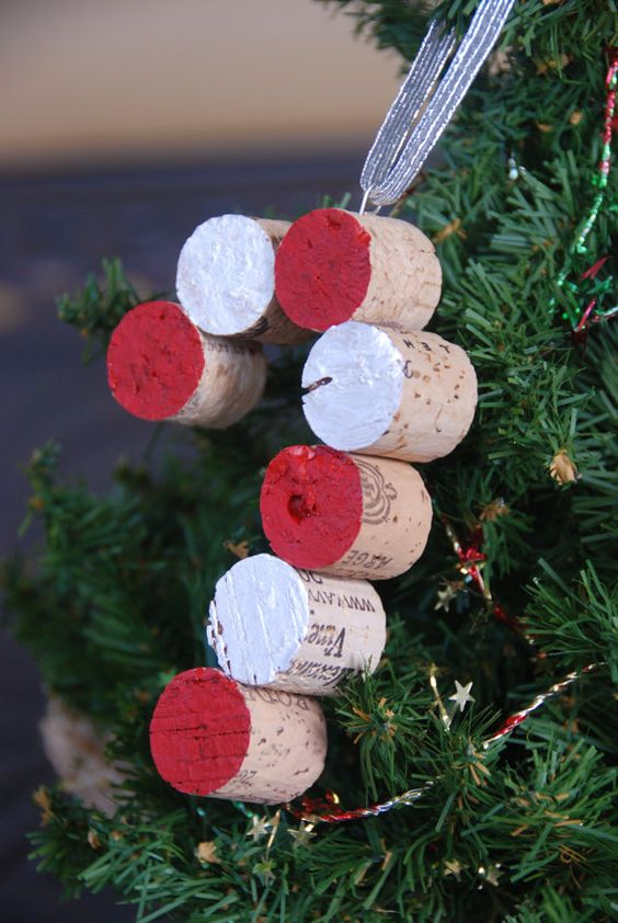 Candy Cane Wine Cork Christmas Tree Ornament by GulfCoasters,