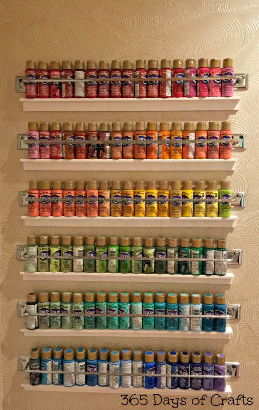 Take a look at this fun craft room tour by 365 Days of Crafts! This 6-tier paint storage is a thing of beauty!: